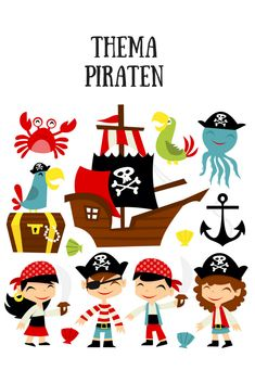 A cartoon illustration of retro pirate adventure theme. In this set included Schatzsuche/Piratenparty Pirate Cartoon, A Cartoon, Pirate Quilt, Girl Pirates, Pirate Adventure, Davy Jones, Pirate Theme, Free Vector Art, Retro