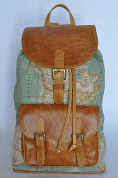 World map canvas backpack // WANT