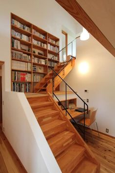 super ideas home library interior design stairs Stair Shelves, Cool Bookshelves, Stair Storage, Bookshelf Ideas, Book Storage, Bookcases, Storage Shelves, Storage Ideas, Basement Storage
