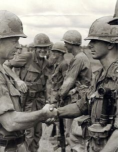 """dogatemytank: """" 1967-71 1LT Michael J. Williams of Company D, 506th Airborne Infantry Regiment being presented with a Silver Star, Vietnam """""""