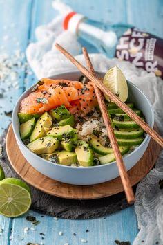 Poke Bowl Menu, Asian Recipes, Healthy Recipes, Sushi Bowl, Lunch Meal Prep, Food Test, Food Bowl, Soul Food, Food Inspiration