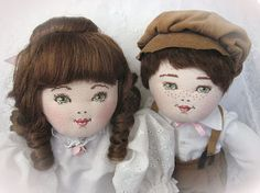 This charming Victorian style handmade cloth doll is perfect for a room filled with Victorian decorations or to accent a girls or boys bedroom. His beautiful and very sweet face represents hours of dedicated labor cross stitching his sage green eyes, chestnut brown eyebrows and rosy colored lips. His cheeks have been lightly blushed to give him a youthful and cheery appearance. Filled with poly fiberfill stuffing, his cloth body is stitched in such a way as to have movement, if desired, at…