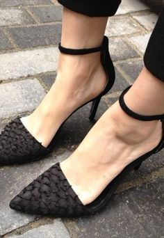 Genuine Leather Fish Skin Pointed Heels