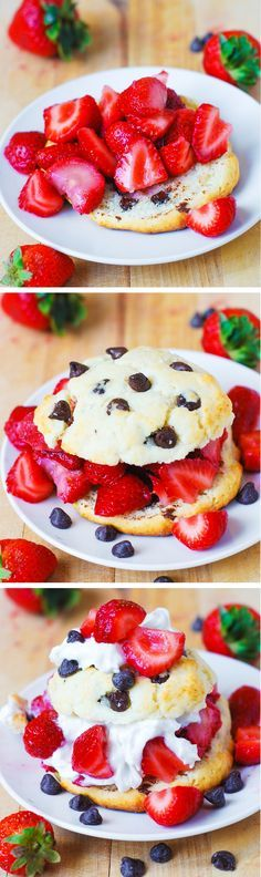 It's like eating huge, crispy on the outside and soft on the inside chocolate chip cookies with strawberries and syrup! Try this recipe in your new apartment home at The Frasier! Just Desserts, Delicious Desserts, Dessert Recipes, Yummy Food, Yummy Treats, Sweet Treats, Profiteroles, Strawberry Recipes, Macaron