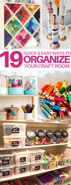 You MUST check these craft room organization hacks out! organization tips & tricks craft room ideas sewing hacks knitting hacks sewing room scrap Sewing Room Organization, Craft Room Storage, Storage Ideas, Organization Ideas, Yarn Storage, Diy Storage, Craft Room Organizing, Storage Hacks, Organized Craft Rooms