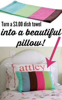 LOVE THIS!!! Make a Pillow from $3 Dish Towels by Designer Trapped in a Lawyer's Body.