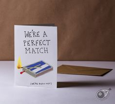 PERFECT MATCH . Hotties . Greeting Card . Friendship . Kraft Envelope