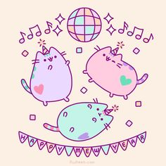 Pusheen the cat party Pusheen Gif, Pusheen Love, Chat Kawaii, Kawaii Cat, Kawaii Shop, Kawaii Drawings, Cute Drawings, Pusheen Stormy, Pusheen Birthday