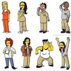 """Ladies of Litchfield as Simpson's characters! Vause is all like """"dat ass tho"""" XD Orange Is The New Black, Black Love, Simpsons Cartoon, Simpsons Characters, Series Movies, Tv Series, Percy Jackson, Alex And Piper, Laura Prepon"""