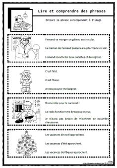 Lire des phrases simples, Cp, Ce1, comprendre, c French Education, Education And Literacy, Read In French, Learn French, French Teaching Resources, Teaching French, Comprehension Exercises, Reading Comprehension, French Worksheets