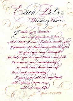 About wedding vows on pinterest wedding vows calligraphy and vows
