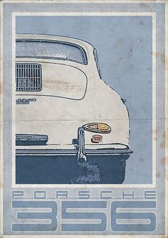 Porsche 356 (rear) - Vintage Style Poster on Etsy, $28.15