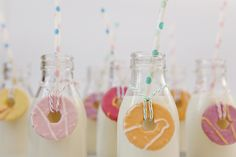 For the kiddies.with fox's party rings attached :) Retro Mini Milk Glass Bottles Vintage Style gold with lids Mini Milk Bottles, Glass Bottles, Bottle House, Fox Party, One Smart Cookie, Milk Cookies, Cookies For Kids, Party Rings, Wedding Favours