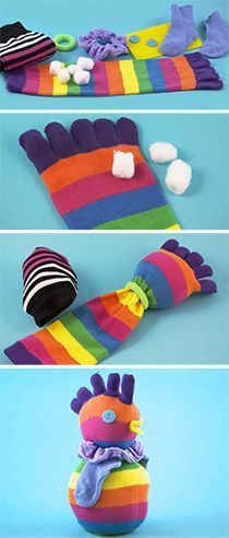 Use bright and colorful socks to create a funky sock chicken, Supplies can be found at  http://www.danscraftsandthings.com