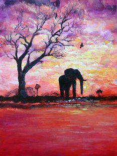 Original Acrylic Elephant Painting Gentle Strength From Within Painting  - Original Acrylic Elephant Painting Gentle Strength From Within Fi...