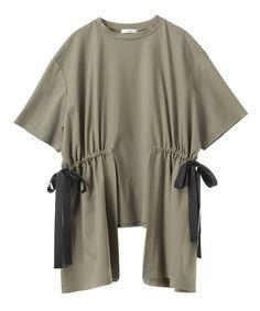 CLANE(クラネ)の「【CLANE】サイドリボントップス SIDE RIBBON TOPS 13105-0701(Tシャツ/カットソー)」 カーキ