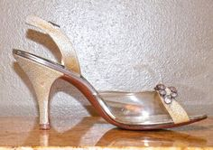 1950s Metallic Gold and Lucite Slingback High by daisyandstella  https://www.etsy.com/listing/206029580/1950s-metallic-gold-and-lucite-slingback?ref=shop_home_active_1