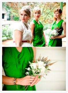 I am digging this shade of green!  green bridesmaid dresses and white wild flower bouquets Via 100LayerCake.com November 16, 2012