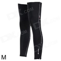 NUCKILY F005 Sun Protection Bike Cycling Leg Warmer Sleeve - Black (Size M / Pair) Price: $14.40