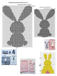 Easter Crochet Step by step and creative inspirations to decorate or present . Easter Crochet Step by step and creative inspirations for decorating or gifting. Baby Knitting Patterns, Knitting Charts, Knitting For Kids, Crochet Patterns, Baby Patterns, Crochet Wall Hangings, Tapestry Crochet, Easter Crochet, Crochet Bunny