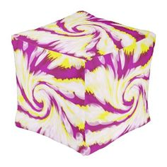 Groovy Pink Yellow White TieDye Swirl Abstract Pouf  $126.00  by BrightVibesArtPhoto  - cyo customize personalize unique diy idea