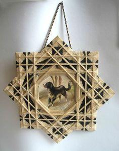 Antique Victorian String Art Frame Star Motif with Dog Print Black White | eBay
