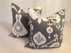 Pillows, Throw Pillows, Decorative Throw Pillows Covers Set Of Two  22 x 22  Pillow Covers, Ikat Pillows, Gray  Pillows on Etsy, $44.00