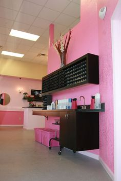 Color Bar- my salon must have pink and A LOT of GLITTER
