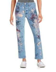 Painted Straight-Leg Jeans
