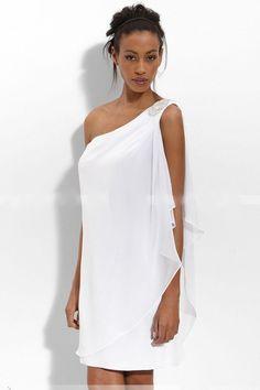 Beading One Shoulder Chiffon Flouncing Short Wedding Dress