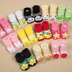 Cute Animal and Cartoon Themed Baby Socks with Anti-Slip Rubber Soles