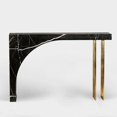 """A Space on Instagram: """"Found II Console Table No.2  Marble, steel, gold leaf 2019 #collectabledesign #consoletable #marble #interiordesign #luxuryinteriors…"""" Marble Tables, Luxury Interior, Interior Design, Curb Your Enthusiasm, Gold Leaf, Console Table, Leaves, Steel, Space"""