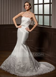 Wedding Dresses - $176.99 - Trumpet/Mermaid Sweetheart Court Train Satin Wedding Dress With Lace Beadwork (002000108) http://jjshouse.com/Trumpet-Mermaid-Sweetheart-Court-Train-Satin-Wedding-Dress-With-Lace-Beadwork-002000108-g108?ves=vnlx6