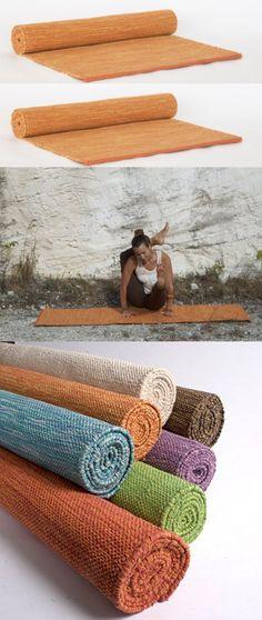 Yogasana Handmade Premium 72-Inch Thick Cotton Yoga Mat/Rug, Saffron, X-Long