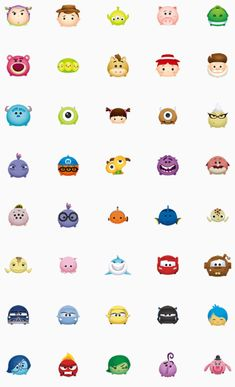 Disney Tsum Tsum (Pixar) Emoji Mini Drawings, Cute Disney Drawings, Disney Doodles, Disney Tsum Tsum, Wallpaper Iphone Disney, Cartoon Pics, Mini Tattoos, Disney Tattoos, Cute Stickers