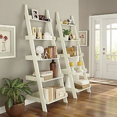 Ladder Shelf from Ginny's ®. 2 of these with storage bench in between and family verse hung on wall. ~ar
