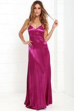 Live out your prime here and now with the Sleek of Success Magenta Satin Maxi Dress! Maxi dress has a triangle bodice, adjustable spaghetti straps and A-line skirt. Satin Nightie, Satin Lingerie, Sparkly Outfits, Pink Evening Gowns, Magenta, Short Beach Dresses, Silky Dress, Satin Dresses, Bridal Lingerie