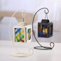 Wish | European Retro Candlestick Painted Glass Lantern Candle Iron Holders Metal Crafts for Wedding Party Home Decor