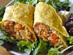 Burritos- gluten free, soy free, vegan with homemade chickpea flour wrap.
