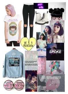 """""""Melanie Martinez"""" by that-1-awkward-friend1234 ❤ liked on Polyvore featuring Frame Denim, Dr. Martens, women's clothing, women, female, woman, misses and juniors"""