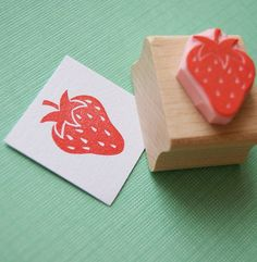 little strawberry hand carved rubber stamp by skull and cross buns | notonthehighstreet.com