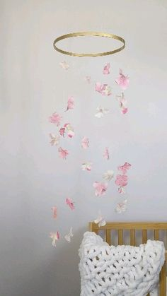 Pink Floral Baby Mobile by Nursery of Eden - This floral mobile has two-toned pink and white hydrangea blossoms hanging in a double helix. Baby Girl Nursery Decor, White Nursery, Baby Room Decor, Fairy Nursery Theme, Flower Room Decor, Nursery Ideas, Bedroom Decor, Butterfly Mobile, Butterfly Nursery