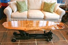 home decor interior design decoration image picture photo Spalted Maple Roll-A-Car Coffee Table truck jack unique reclaimed antique
