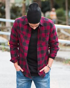 """Flanell shirt Check red check it out on WWW.NOHOWSTYLE.COM #BEnohow #nohow """