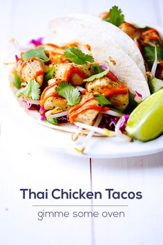 Thai Chicken Tacos - serve over Jasmine rice, or make your own tortillas Asian Recipes, Mexican Food Recipes, Dinner Recipes, Healthy Recipes, Tortilla Recipes, Healthy Breakfasts, Thai Recipes, Healthy Snacks, Clean Eating