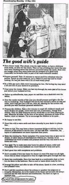 The Good Wife's Guide . . . (Housekeeping Monthly, May 13, 1955) - Holy Cow... This truly Blew My Mind...