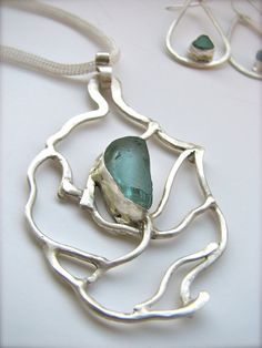 Something Blue Bridal Vine Necklace, Sea Glass Necklace, Sterling Silver Pendant  $200