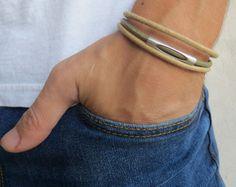 Men's Bracelet  Men's Tube Bracelet  Men's Brown And by Galismens