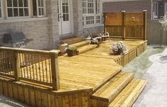 Adding a front and back deck to the house! {How to build a deck} This would work! Deck Building Plans, Deck Plans, Coop Plans, Front Deck, Back Deck, Front Porch, Lower Deck, Front Entry, Outdoor Spaces