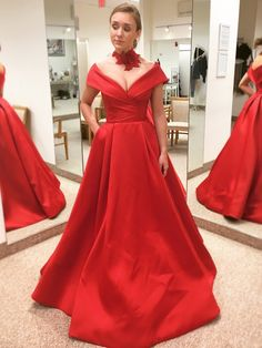 Sexy Off Shoulder Sleeves Red Prom Dress Prom Dresses With Pockets f4f263074a0a